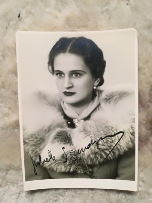 Foto JULIETTE SANDOVICI anii 30-40 Opera Romana Bucuresti semnatura 9 x 6 cm