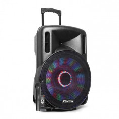 "Fenton FT15LED, difuzor activ, 15"", 800 W, BT/USB/SD/Aux, cărucior led pentru baterii"