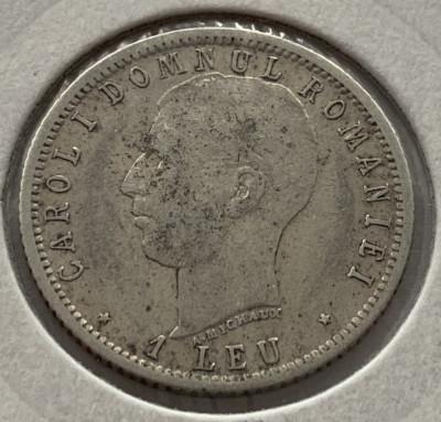 1 Leu 1906  Argint, Romania  -VF, varianta cu punct (A. Michaux) mai rara! foto
