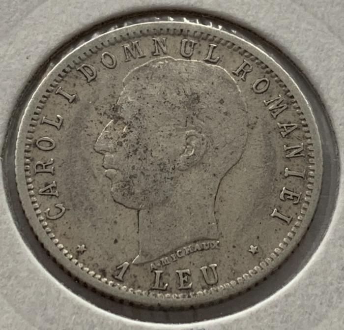 1 Leu 1906  Argint, Romania  -VF, varianta cu punct (A. Michaux) mai rara!