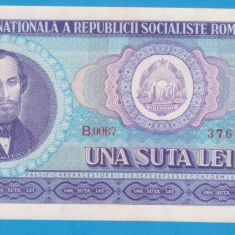 (2) BANCNOTA ROMANIA - 100 LEI 1966, PORTRET NICOLAE BALCESCU. STARE FOARTE BUNA