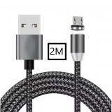 Cablu de incarcare cu conector magnetic 2M ,micro-USB,2M,LED,NEGRU