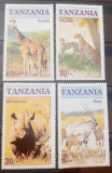 Cumpara ieftin Tanzania animale salbatice, fauna africana girafa ghepard rinocer SERIE 4V.MNH, Nestampilat