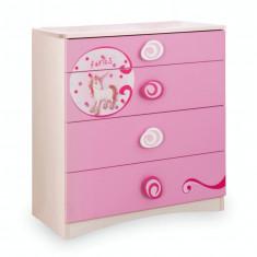 Comoda din pal cu 4 sertare, pentru copii Little Princess Pink / Nature, l75xA41xH79 cm