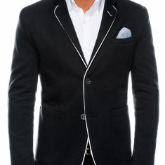 Sacou pentru barbati, negru, casual, slim fit, cu buzunare aplicate, elegant, inchidere doi nasturi - M81
