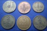 Monede 1 leu 1938, 1 leu 1947, 1 leu 1949, 2 lei 1951, 3 bani 1954