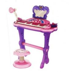 Orga de jucarie cu 25 clape, microfon, karaoke, conectare mp3, scaunel inclus