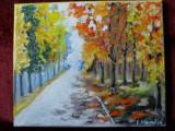 Septembrie in parc-pictura ulei pe panza, Natura, Altul