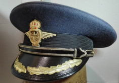 Cascheta aviator, sapca de pilot, chipiu ofiter superior aviatie WW2 foto