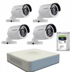 Kit de supraveghere cu 4 camere exterior Hikvision TurboHD DS 2CE16C0T IRPF 1 MP IR 20 m 2.8 mm + DVR Turbo HD Hikvision DS 7104HGHI F1 4 canale 1080