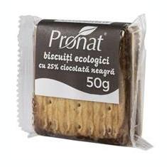 Biscuiti Bio cu 25% Ciocolata Neagra Pronat 50gr Cod: PRN3009006