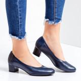 Pantofi dama piele naturala cu toc albastri Maurelle