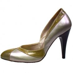 Pantofi dama, din piele naturala, marca Perla, 810-14, gri