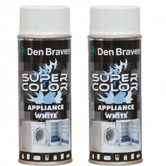 2 x Den Braven, Vopsea spray smalt pentru frigider, aragaz, masina de spalat