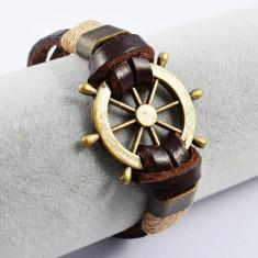 Bratara Barbati din piele maro cu elemente din otel inoxidabil