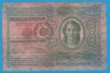 (1) BANCNOTA AUSTRO-UNGARIA - 100 CORONA 1912, STAMPILA BANAT SI BUCOVINA, RARA