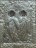 Icoana Romaneasca pictata pe lemn Sf Mihail si Gavril cu ferecatura