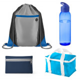 Set cadou pentru Baieti, saculet sport, sticla apa, geanta termoizolanta, husa chei, Kidonero, MASH0007, albastru, breloc inclus