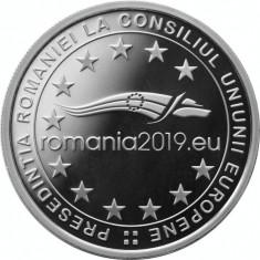 Moneda Romania 10 Lei 2019 - Proof ( argint - Președinția Consiliului UE )