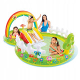 Cumpara ieftin Piscina gonflabila pentru copii, model Gradina, Intex, 290x180x104 cm, 450 litri, tobogan gonflabil, Bestway