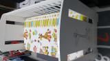 Patut din lemn cu girafa/sertar+saltea 12 cm-Bonus 2 lenjerii+2 seturi protectie