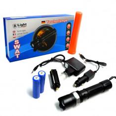 Lanterna Reincarcabila cu Bagheta SOS, Incarcator Mufa Auto 12V si 230V