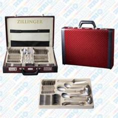 Set tacâmuri din inox + cutie diplomat din piele ecologică, Zillinger, 72 piese