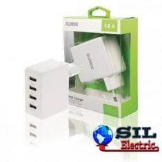 Incarcator de la retea, 4x iesire USB 2.4 A alb, Sweex