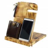 Suport din lemn pentru telefon,ceas,portofel si chei