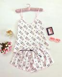 Pijama dama ieftina primavara-vara alba din satin lucios cu imprimeu iepuras