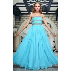 Rochie de seara lunga, de culoare turcoaz, cu benzi din cristale, 2XL, XL