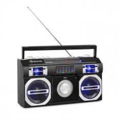 Auna Oldschool, casetofon retro din anii 80, CD, BT, USB, MP3, FM, antenă telescopică, baterie, negru