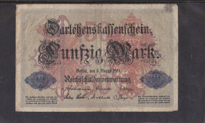 MDBS - BANCNOTA GERMANIA - 50 MARK - 1914 foto