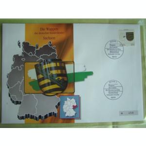 Cartela Telefonica + FDC Germania Sachsen - Exponat Numerotat