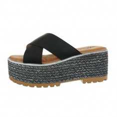Papuci trendy, negri, cu platforma, 36, 38 - 41, Negru