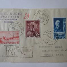 Rara! Scrisoare recomandată 1938 Lenauheim(Judet Timis-Torontal) cu timbre rare
