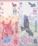 Bancnota Argentina 20 si 50 Pesos 2017/18 - PNew UNC ( set x2 )