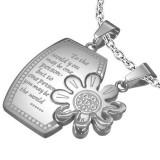 Pandantiv pentru cuplu, din oțel inoxidabil, dreptunghi cu inscripție și o margaretă