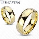 Inel din tungsten, suprafaţă rotunjită de culoare aurie, model Stăpânul Inelelor, 6 mm - Marime inel: 64