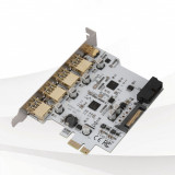 Adaptor PCI-E 1x la USB3.0 4-Port, TYPE-C 1-Port