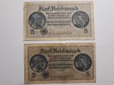 5 MARCI GERMANIA NAZISTA - 5 REICHSMARK - SVASTICA - 1939 - 1944 - LOT 2 BUCATI