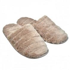 Papuci imblaniti de dama, model cu dungi, marime 37-38, maro