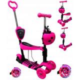 Trotineta 5 in 1 roti cu led platforma antiderapanta JR R-Sport roz