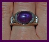 unic! inel argint 925 antic cu ametist  natural!!oval cut caboson