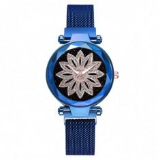 Ceas dama GENEVA CS1029, model Starry Sky, bratara magnetica, elegant, albastru