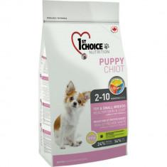 Hrana uscata pentru caini 1st Choice Puppy, Sensitive Skin&Coat, Talie mica & Toy, 2.72kg