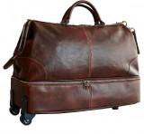 Geanta voiaj cu roti, din piele naturala, bagaj de mana avion, GV118