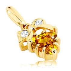 Cumpara ieftin Pandantiv din aur 375 - pietre transparente în fundă, citrin galben triunghiular