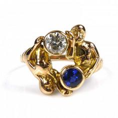 Inel Vintage Cu Femeie Barbat Cu Diamant Si Safir Unicat
