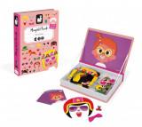 Carte magnetica pentru fete Janod - Fete nastrusnice, 65 piese